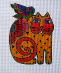 LB-26 Orange Cat with Bird With stitch guide 4 ½ x 6 13 Mesh Danji Designs LAUREL BURCH