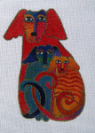 LB-29 Embracing Dogs With stitch guide 5 x 6 18 Mesh Danji Designs LAUREL BURCH