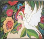 LB-73 Swan Goddess With stitch guide 14 x 12 18 Mesh Danji Designs LAUREL BURCH
