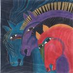 LB-134 Three Horses  12x12 18 Mesh Danji Designs LAUREL BURCH