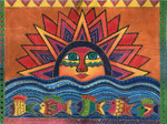 LB-135  Sun Fish 16x12 18 Mesh Danji Designs LAUREL BURCH