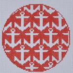 "LN-11 Anchors Ornament4"" Round 18 Mesh ELLE B DESIGNS Danji Designs"