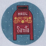 "ZIA-49  Santa Mailbox Ornament 4"" Round 18 Mesh ZIA DESIGNS Danji Designs"