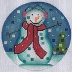 """ZIA-47 Snowman Ornament  4"""" Round 18 Mesh ZIA DESIGNS Danji Designs"""