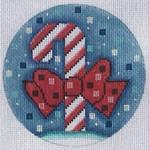 """ZIA-46 Candy Cane Ornament 4"""" Round 18 Mesh ZIA DESIGNS Danji Designs"""