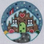"ZIA-45 Gingerbread House Ornament  4"" Round 18 Mesh ZIA DESIGNS Danji Designs"