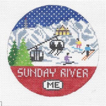 R111 Sunday River ‐ Round 4.25 x 4.25 18 Mesh Doolittle Stitchery