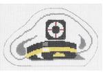 O112 Captain's Hat ‐ Ornament 3 x 5  18 Mesh Doolittle Stitchery