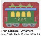 O106 Train Caboose ‐ Ornament 3.75 x 5.5 18 Mesh Doolittle Stitchery