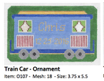 O107 Train Car ‐ Ornament 3.75 x 5.5 18 Mesh Doolittle Stitchery