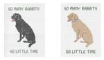 P104 So Many Rabbits Black Lab ‐ Pillow 10.5 x 8   13 Mesh Doolittle Stitchery