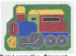 O105 Train Locomotive ‐ Ornament 3.75 x 5 18 Mesh Doolittle Stitchery