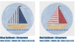 O110 Blue Sailboat ‐ Ornament 4.25 x 4.25  18 Mesh Doolittle Stitchery