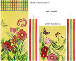 CA02C Floral & Plaid Yellow Complete Set set of 4 canvas only Trubey Designs