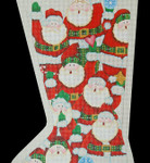 "ED-1212A Santa Stocking w/ attachment (right toe) 18g, 15"" x 24""  DeDe's Needleworks"