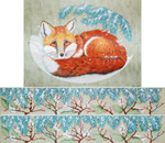 """ED-17145 Snowy Red Fox Footstool Oval 18g, 12"""" x 14"""" DeDe's Needleworks"""
