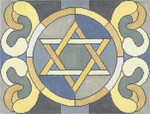 JT090 Tallis Stained Glass Circle Star Grey Size:  13 x 10, 13g Two A T Design