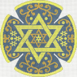 JT059A/G Stars and Flower Blue/Gold YARMULKE Size: 7.5 dia., 18g Two A T Design