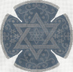 JT059A/S Stars and Flower Blue/Silver YARMULKE Size: 7.5 dia., 18g Two A T Design