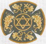 JT080A Tapestry Star YARMULKE Size: 7.5 dia., 18g Two A T Design