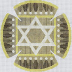 JT085A Geo Border Taupe YARMULKE Size: 7.5 dia., 18g Two A T Design