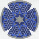 JT094A Medallion Star Blue YARMULKE Size: 7.5 dia., 18g Two A T Design