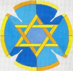 JT089A Stained Glass Circle Star Blue YARMULKE Size: 7.5 dia., 18g Two A T Design