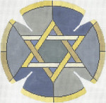 JT090A Stained Glass Circle Star Grey YARMULKE Size: 7.5 dia., 18g Two A T Design
