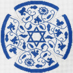 JT091A Vine Floral Blue YARMULKE Size: 7.5 dia., 18g Two A T Design