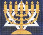 JT006B Center Menorah Blue/Gold TEFILLIN Size: 9.5 x 8,13g Judaic Designs by Tonya