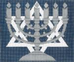 JT006B/S Center Menorah Blue/Silver TEFILLIN Size: 9.5 x 8,13g Judaic Designs by Tonya