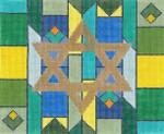 JT022B Geometric Blue/Green TEFILLIN Size: 9.5 x 8,13g Two A T Design