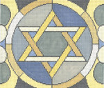 JT090B Stained Glass Circle Star Grey TEFILLIN Size: 9.5 x 8,13g Two A T Design