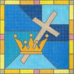 "EC14 Cross & Crown 13g, 10"" x 10"" Judaic Designs by Tonya"