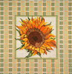 "236 Sunflower with Plaid Border 13 Mesh - 14"" Square Needle Crossings"