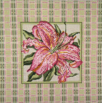 "239 Lily with Pink & Green Border 13 Mesh - 14"" Square Needle Crossings"