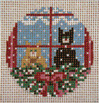"1771-18 Christmas Cats Ornament 3"" Round 18 Mesh Needle Crossings"