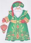 "BB 6047  Santa Claus- Green Robe with Red Ornamen  Size: 6"" x 4.5""  Mesh Count: 18 Mesh  Burnett And Bradley"