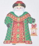 "BB 6051  Santa Claus- Green Robe with Lantern Size: 5.75"" x 4.75"" 18 Mesh  Burnett And Bradley"