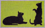 C108B 2 Black Cats/Green BG 3.25 x 5.25 EyeCandy Needleart