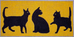 C108 3 Black Cats/Yellow BG 4x8.25 EyeCandy Needleart