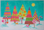 CH306 Candyland Christmas Trees 8x11 EyeCandy Needleart