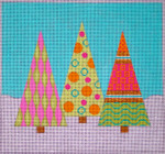 CH306A Candyland Christmas Tree Trio 8x8.5 EyeCandy Needleart