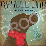 TC-SF-202 12x12 18ct Rescue Dog Mistletoe Tango & Chocolate Etc.