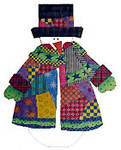 N-S-106F Patchwork Snowman  With Top Hat 13 Mesh 10 x 12 With Cathi Rosengren Stitch Guide Renaissance Designs
