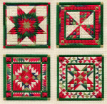 HOLIDAY ORNAMENTS, SERIES 1 (CS) 82 x 82 each - 18ct canvas Laura J Perin Designs Counted Canvas Pattern Only