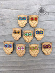 """Owl Buttons - 3/4"""" x 1"""" - Card of 4 Bamboo Buttons Katrinkles"""