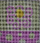 101 LA Lime Aqua Flower Stripes/Dots 5x5 14 mesh Beth Gantz Designs