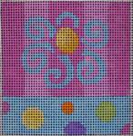 101 PAL Flower Pink Aqua Stripes/Dots 5x5 14 mesh Beth Gantz Designs