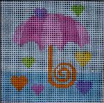 176 Pink Aqua Umbrella 5x5  14 mesh Beth Gantz Designs